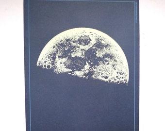 Vintage Moon Print,  Moon Print, Blue Moon Print, Space Print, Space Art, Moon Art, Print, Poster, Wall Art