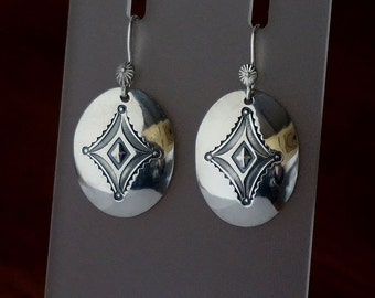 Silver Concho Dangle Earrings ... Hand Stamped Coin Silver ... Ready to ship