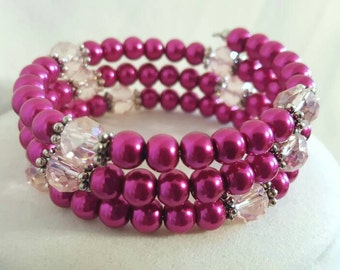 Dainty Fuchsia Pearl Bracelet with Silver and Crystals | Charming Summer Fashion | Wire Wrap Bracelet | Women's Coil Cuff | Pink Pearls