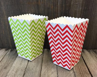 Red, Green and White Chevron Popcorn Treat Boxes- Holiday Party Supply- Christmas Favor Boxes- 24 Count