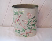 Vintage bathroom trash can, bedroom waste can, small trash can, elongated shape, hand painted, birds nature scene, shabby cottage chic decor