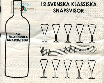 Swedish Luncheon Napkins with 12 Drinking Songs Snapsvisor  - Two packages of 20 #57088