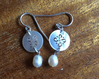 Button and Pearl Earrings