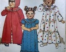 Girls Toddlers Robe and Nightgown Pattern All Sizes 1 + 2 + 3 + 4 Butterick Vintage Retro