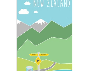 Art Poster Print - New Zealand Travel Souvenir Mountains Landscape Road Trip Snow Illustration Interior Wall Decor