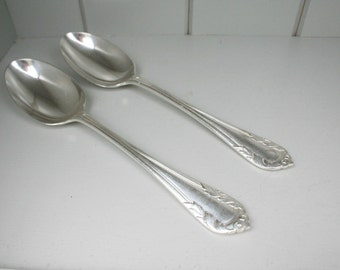 Pair Tablespoons  Silver Plated Victorian