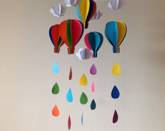 Hot Air Balloon Mobile - Toddler Mobile - Baby Mobile- Clouds Mobile- Rain Drops Mobile