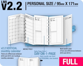 Full [PERSONAL v2.2 w DS1 do1p] January to December 2018 - Filofax Inserts Refills Printable Binder Planner Midori.