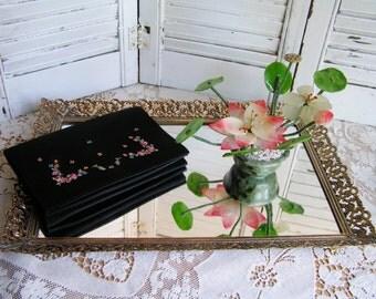 Vintage Gold Filigree Hollywood Regency Footed Ormolu Vanity Tray Mirror Mirrored Tray Bedroom Bathroom Decor Filigree Flowers