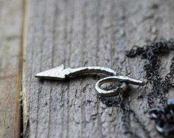 Devil Tail Necklace Minimalist Jewelry Oxidized Sterling Silver Charm Necklace She Devil Little Devil Fallen Angel