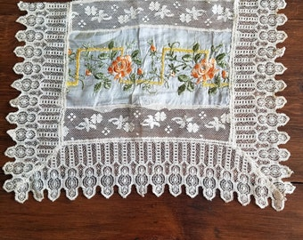 Vintage Lace and Silk Dresser Doily/Scarf  #4