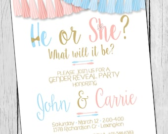 Gender Reveal Invitation He or She Gender Reveal Invite Blue and Pink Gender Reveal Invitation