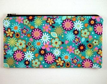 Blue Flowery Zipper Pouch, Make Up Bag, Pencil Pouch, Gadget Bag