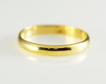 Vintage 14K Yellow Solid Gold Half Round Band Size 8