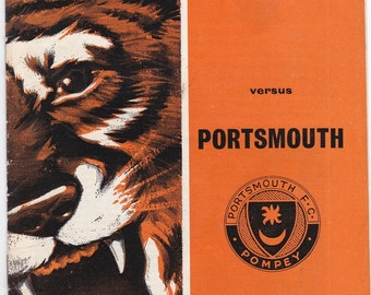 Vintage Football (soccer) Programme - Hull City v Portsmouth, 1968/69 season