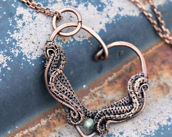 Wire Woven Copper Heart Pendant. Great gift for someone special!!!
