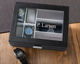 Personalized Leather Watch Box with Sunglasses Holder - Personalized Watch Box - Groomsmen Gifts - Gifts for Him - GC1372