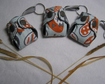 Paisly Fox print Basic cloth diaper Key chain diaper, keychain, cloth diaper keychain diaper