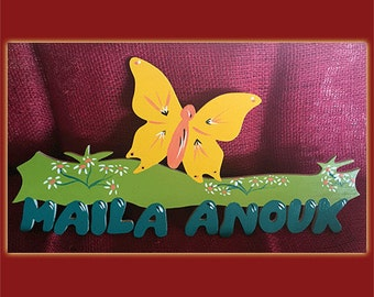Butterfly door sign with names for children