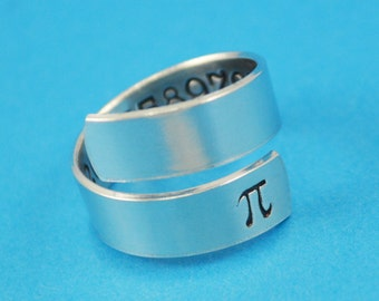 Pi Wrap Ring - Hand Stamped Math Teacher Gift