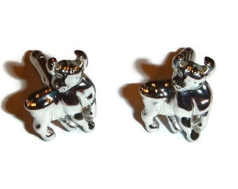 Bull Cuff Links Silver Steer Rodeo Cufflinks MINT Brand New in Box VanHeusen Designer Mens Vintage Jewelry Rancher Cowboy Groom Wedding Gift