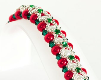 Christmas Bracelet - Pearl Bracelet in Red & White Glass Pearls, Emerald Green Montees and Crystals, Silver Seed Beads - Hugs and Kisses