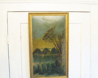 Antique Originial Painting Landscape Vintage Lake Waterfall Sailboat Landscape Folk Painting Naive Primitive Art Gilt Wood Original Frame