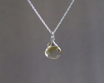 Citrine Necklace - November Birthstone - Sterling Silver