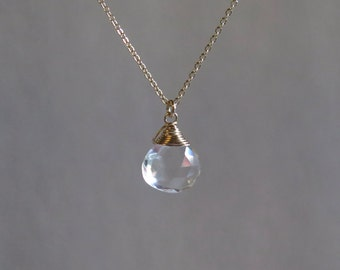 Clear Quartz Necklace - April Birthstone - Gold Filled