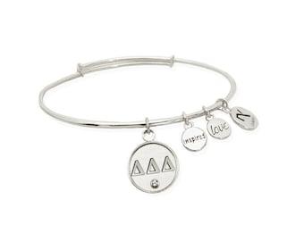 Delta Delta Delta (Tri-Delta) Greek Letter Bangle Bracelet- Silver or Gold