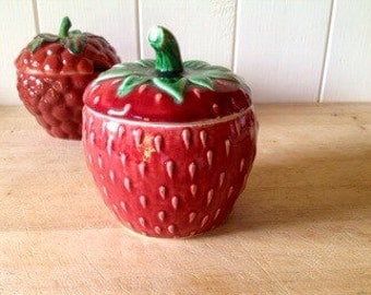 1960s Vintage Portuguese Ceramic Preserve pot - Strawberry  pot - Vintage Tableware- jam pot