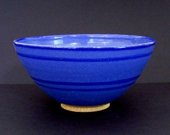 Ceramic bowl, serving bowl, blue ceramic bowl, large bowl, handmade bowl, high fired