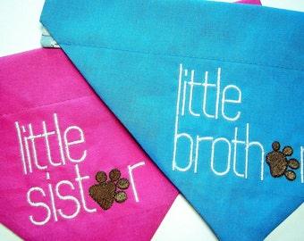 Little Brother or Little Sister Dog Scarf Over the Collar Dog Bandana