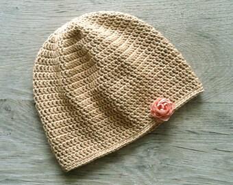 WILLOW Beige/Tan Crochet Baby Hat, Baby Girl Hat, Flower Baby Beanie, size Newborn,0-3, 3-6,6-12 months,Made to Order