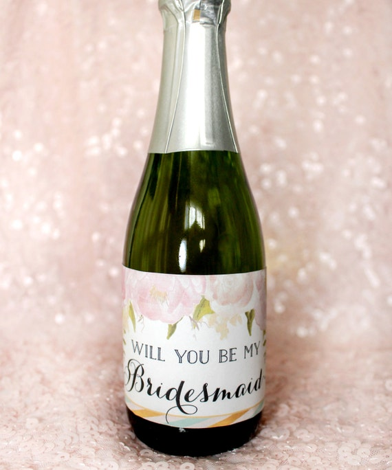 Will you be my bridesmaid mini champagne by for Etsy mini wine bottle labels