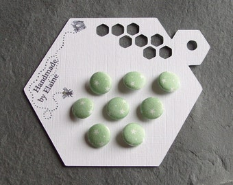 Fabric Covered Buttons - 8 x 12mm Buttons, Handmade Button, Pastel Milky Verdigris Lichen Arsenic Green Kawaii Cute White Star Buttons, 2346