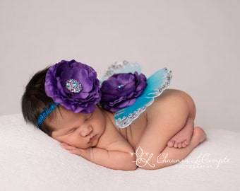 Butterfly Wings and Headband, Turquoise and Purple Wings, Newborn Wings, Newborn Prop, Wing and Headband Set, Newborn Photo Prop
