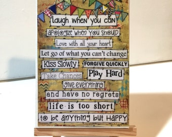 Happy Sign- Life Rules - Print and Easel Set