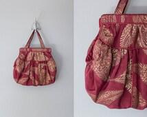 GOLD LEAF purse | Vintage 1920s merlot and gold lame silk purse
