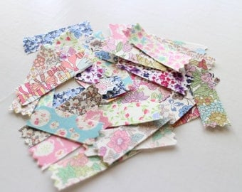 Liberty fabric stickers, Flowers, Sticker Seals,  Set of 30