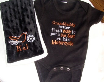 Let's Ride the Harley Granddaddy Onesie With Burp Cloth Gift Set