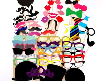60 Pcs. Party Photo trim mustache glasses lips Tie hats Photo Booth Props Set wedding party gift accessories [1648]