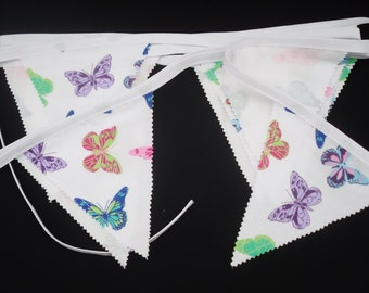 Butterfly Bunting 15 ft - Over 4 Metres 20 Flags Multi Colours White Background Double Sided