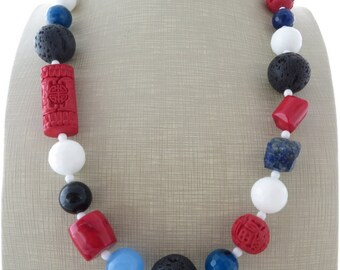 Chunky stone necklace, big bold necklace, blue and white agate necklace, red cinnabar and lava necklace, beaded necklace, gemstone jewelry