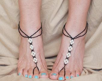 Black Barefoot Sandals, Beach Wedding Barefoot Sandals, Barefoot Sandals Wedding, Barefoot Sandles, Beaded Barefoot Sandals, Boho Jewelry