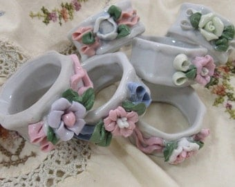 Vintage Porcelain Napkin Rings Floral Cottage Chic Set of 6