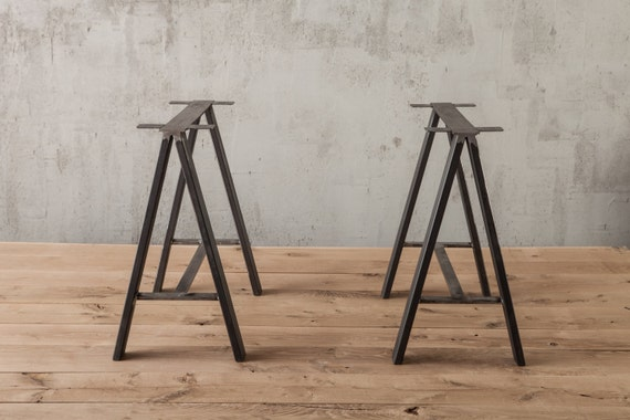 Saw Horse Table Leg , Metal Table Legs ,rustic Industrial Pair These Metal Table  Legs With Any Of Our Table Tops To Complete Your DIY Table
