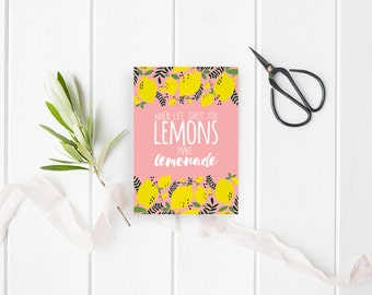 When life gives you lemons make lemonade card to be downloaded - Lemonade Instant download - Stationery Illustrated Thank You Cards Lemons