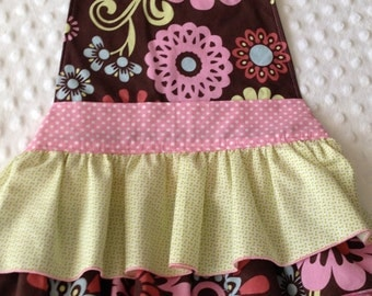 Girls Frilly Ruffled Apron  in Sweet Brown Floral