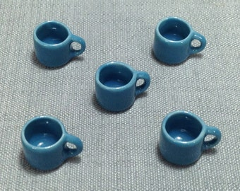 5 Cups Miniature Hand Painted Pastel Blue Mugs Mug Dish Ceramic Cup Small Coffee Tea Cup Dollhouse Display Decoration Supplies Jewelry 1/12